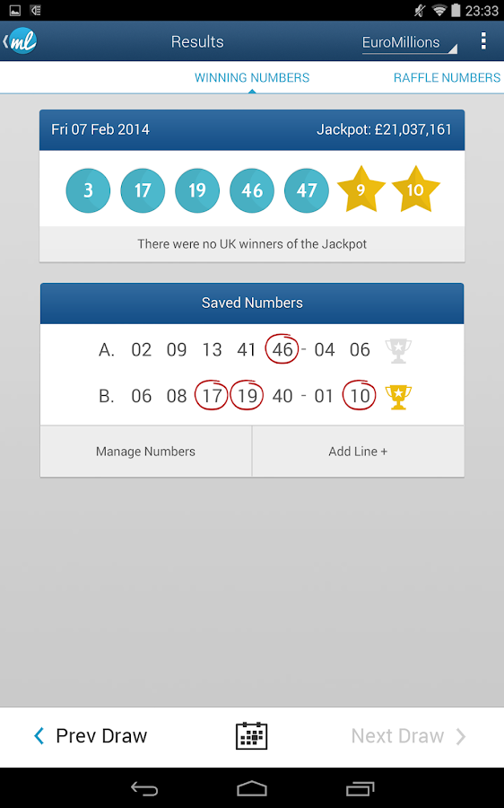 lottery results checker