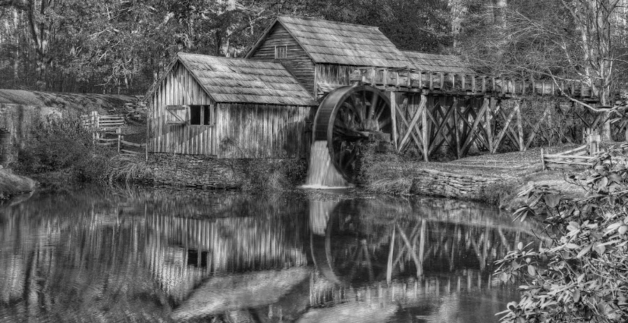 Mabry Mill by Bud Schrader - Buildings & Architecture Public & Historical ( mill, reflection, black and white, mabry mill, blue ridge parkway, historical )