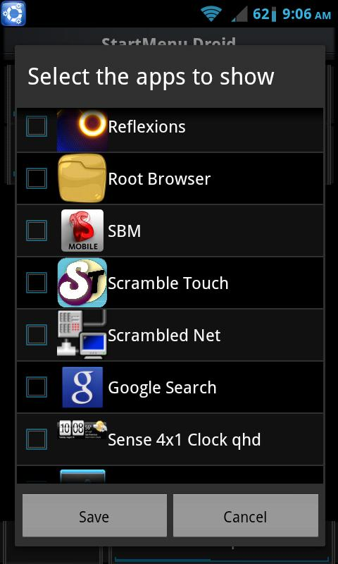 StartMenu Droid - screenshot