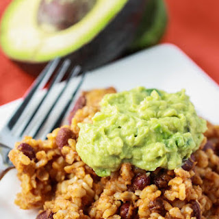 Rice & Bean Casserole with Guacamole.