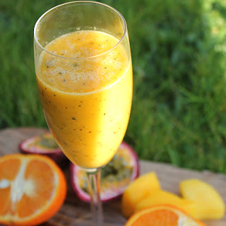 Vitamin Boosting Passion Fruit, Mango and Orange Smoothie.