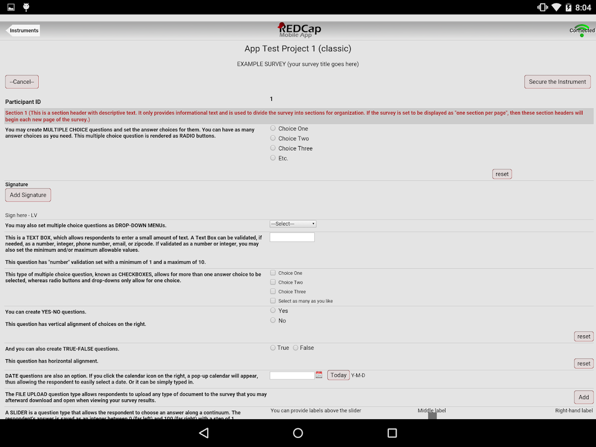 REDCap Mobile App- screenshot