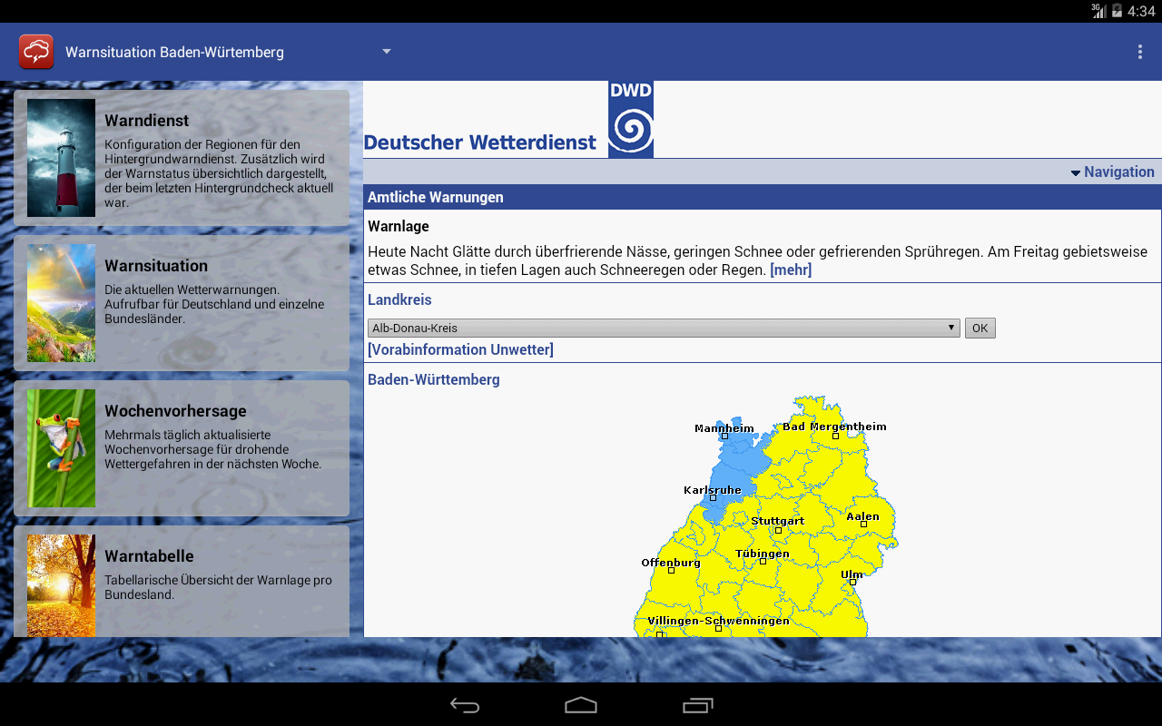 Wetterwarner- screenshot