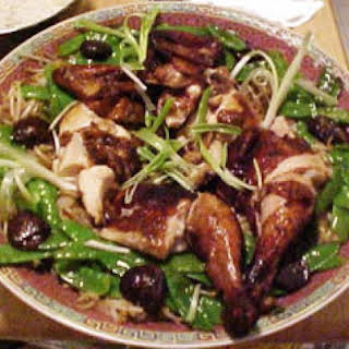 Chinese Roast Chicken with Bean Sprouts and Snow Peas.