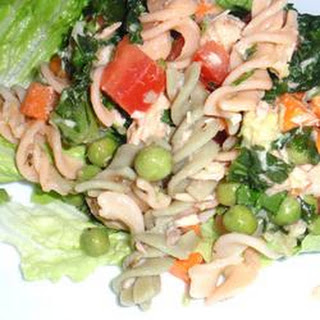 Easy Salmon Brown Rice Pasta Salad.