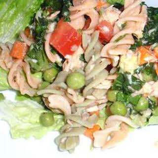 Easy Salmon Brown Rice Pasta Salad.