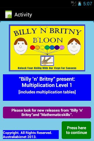 Multiplication Level 1 Free