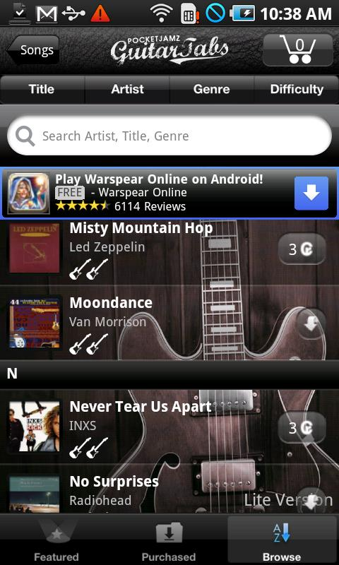 Pocket Jamz Guitar Tabs Lite- screenshot