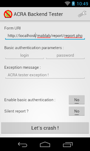 MABL ACRA Backend Tester