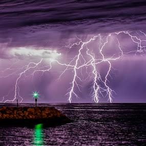 Lightning at the harbour by Craig Eccles - Landscapes Weather ( thunder, lightning strike, lightning, perth, thunderstorm, australia, weather, ocean, storm )