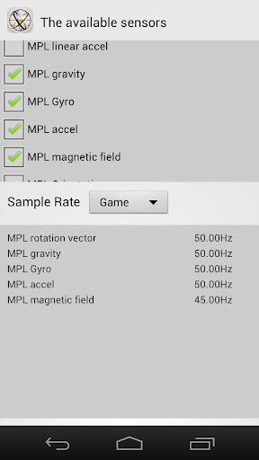 Check the sensor sampling rate