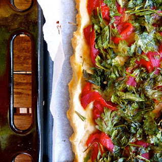 Red Pepper and Parsley Spanish Pizza.