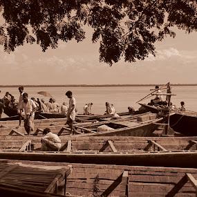 Boats of fishermans by Suaib Akhter - Transportation Boats ( boats and people, bangladeshi fisherman, padma river, boat, bangladeshi boat, people, crowd, humanity, society )