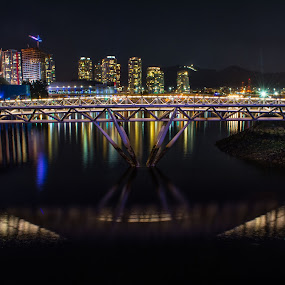 Olympic View in Vancouver by E.g. Orren - City,  Street & Park  Night ( skyline, night photography, false creek, photo by ego, olympic village, vancouver, bc place, city at night, street at night, park at night, nightlife, night life, nighttime in the city,  )