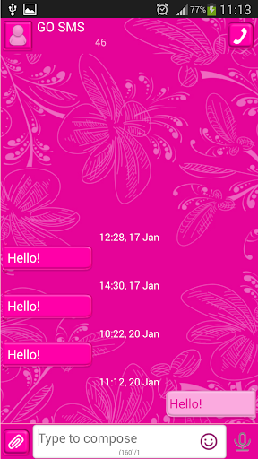 GO SMS Pure Pink