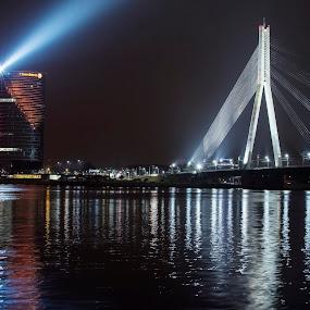 Riga by Evita Ewii - Buildings & Architecture Bridges & Suspended Structures ( riga, old town, night, bridge, river )