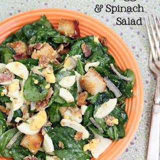 Tossed Bacon, Egg and Spinach Salad.