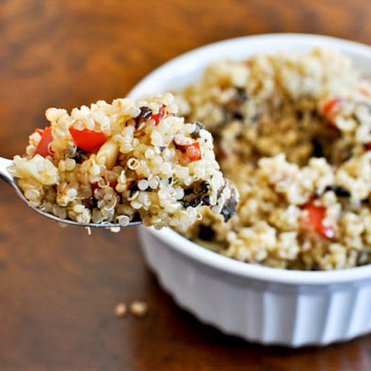 Roasted Garlic, Red Pepper and Mushroom Quinoa