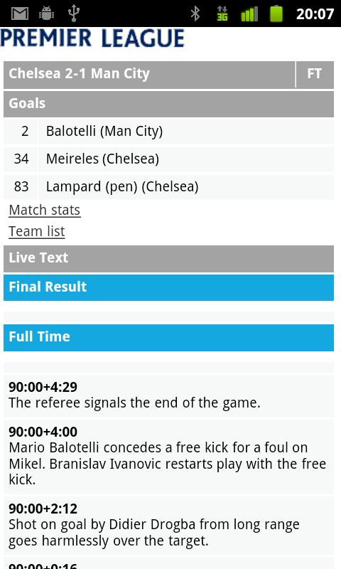 EPL Scores - screenshot