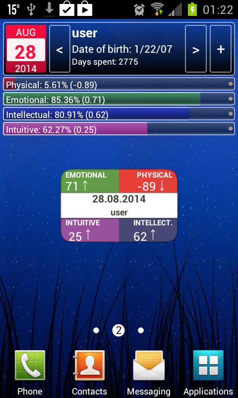 Personal Biorhythms Calculator - screenshot