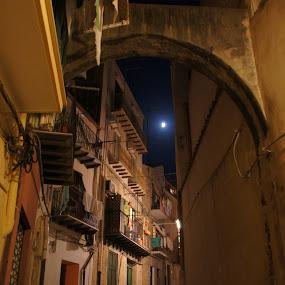 Cefalu at night by Pavel Laberko - City,  Street & Park  Night ( moon, street, old town, night, balcony, city )