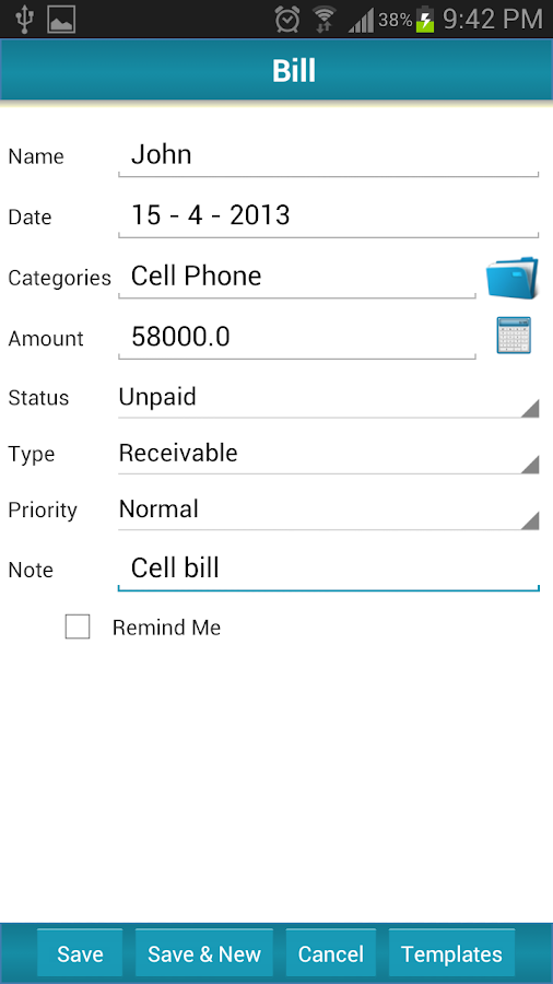 Bill Reminder Expense Tracker - screenshot