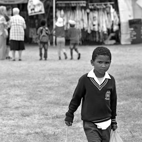 Alone by Jenny Koneczny - Black & White Portraits & People ( life, school, black and white, boy, culture )