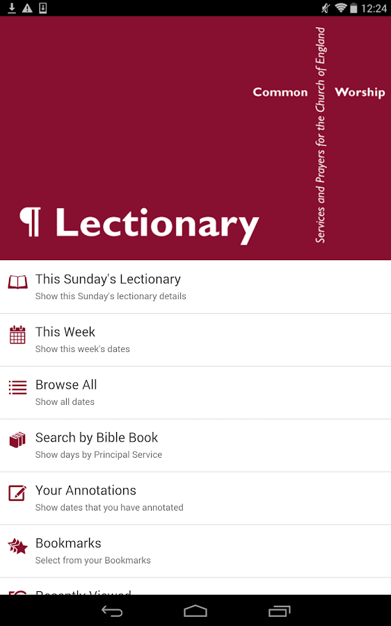 Lectionary: From the CofE- screenshot