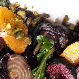 Roasted Beet Salad With Beet Greens, Oranges & Pistachios.