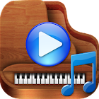 Piano with ocean waves icon
