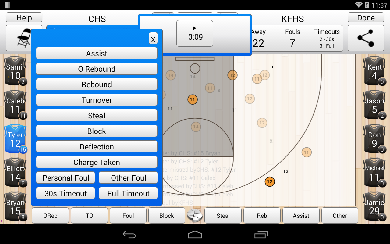 Basketball Stat Tracker- screenshot