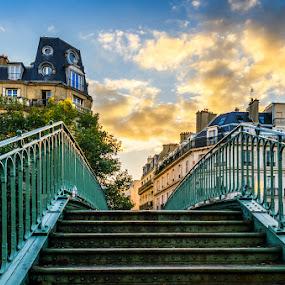 Paris, bridge over Canal St. Martin by Tomas Vocelka - City,  Street & Park  Neighborhoods ( paris, stairs, sunset, canal st. martin, bridge, art deco )