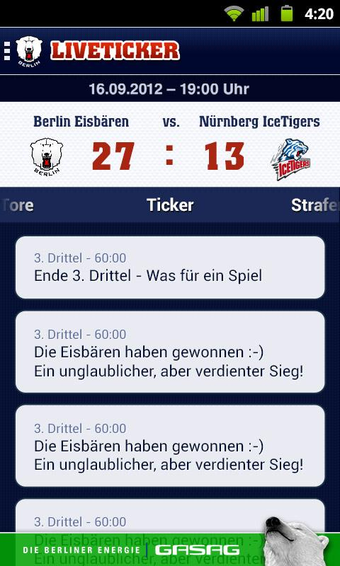 Eisbären Berlin- screenshot