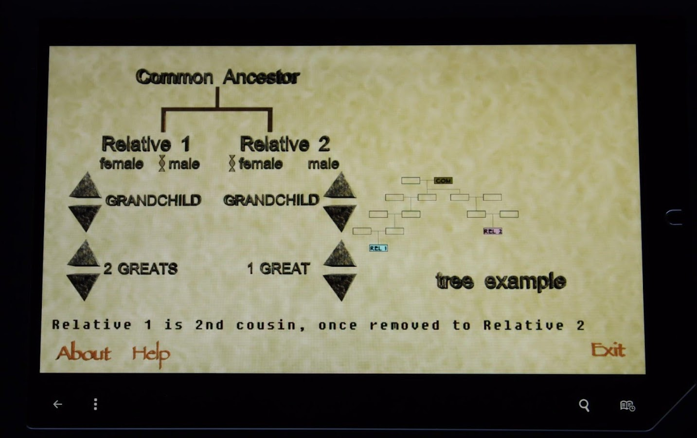 Genealogy Relationship Decoder- screenshot