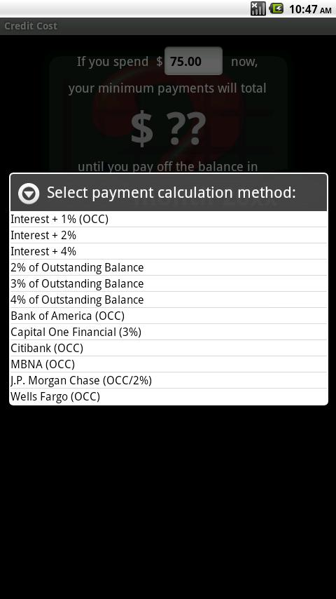 Credit Cost - screenshot
