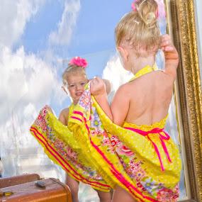 i'm so pretty by Jody Jedlicka - Babies & Children Child Portraits ( studio, two, reflection, pretty, portrait )