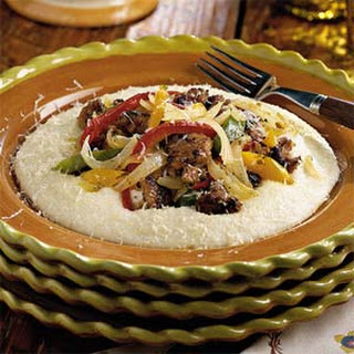 Sausage and Peppers With Parmesan Cheese Grits