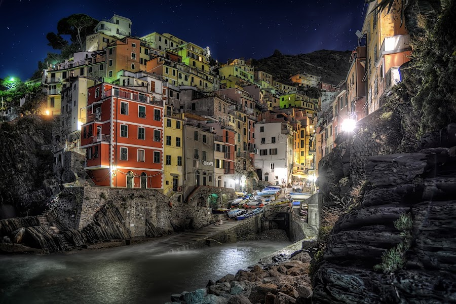 Riomaggiore by Cristian Peša - City,  Street & Park  Night ( , colorful, mood factory, vibrant, happiness, January, moods, emotions, inspiration, city at night, street at night, park at night, nightlife, night life, nighttime in the city )