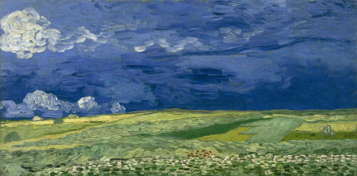 "Wheatfield-Under-Thunderclouds-Van-Gogh-Museum - ""Wheatfield Under Thunderclouds"" (1890), painting by Vincent van Gogh. See it in the Van Gogh Museum, Amsterdam, the Netherlands."