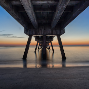 Deerfield Beach Pier before Sunrise by Tim Azar - Landscapes Waterscapes ( clouds, water, deerfield beach, hdr, tim azar, colors, ocean, tourism, beach, architecture, atlantic, sunlight, landscape, usa, coast, fishing pier, canon 6d, vacation, sunset, florida, shoreline, pier, sunrise, waterfront )