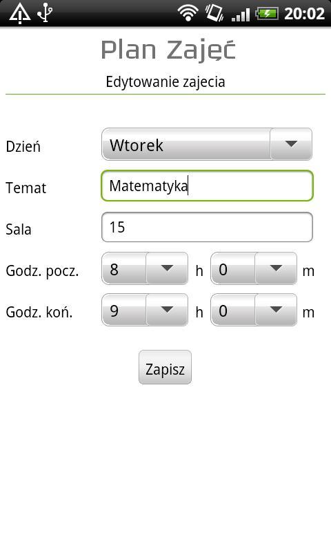 Plan zajęć / lekcji- screenshot