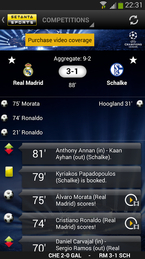 Setanta Sports Match Tracker - screenshot