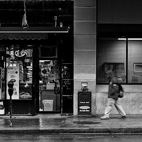 Washington Street Rain by Alan Roseman - Black & White Street & Candid ( rainy, gray day, street, providence, rain, lonesome,  )