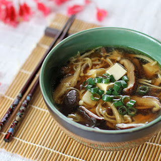 Japanese Mushroom, Tofu and Vermicelli Soup.