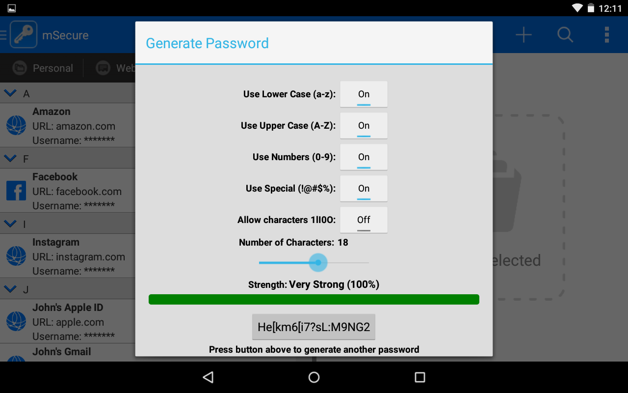 mSecure Password Manager - screenshot