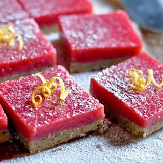 Cranberry Curd Bars with Walnut Shortbread Crust