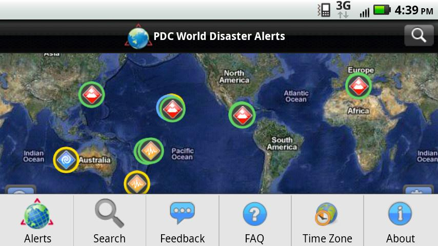 Screenshots of Disaster Alert for iPhone