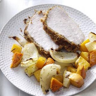 Crumb-Crusted Pork Roast with Root Vegetables