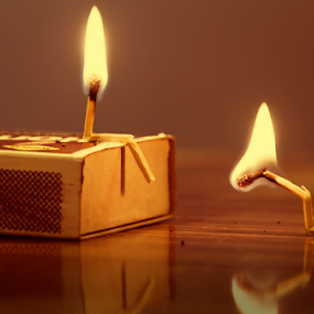 Matchstick Love by Amitabh Mukherjee - Artistic Objects Other Objects ( love, creative, matchstick, burning )