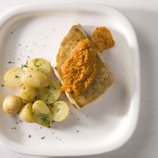 Halibut in Hazelnut Romesco with Potatoes.